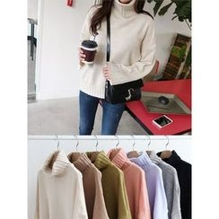 hellopeco - Turtle-Neck Drop-Shoulder Knit Top