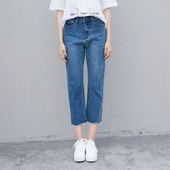 Denimot - Washed Cropped Straight Leg Jeans