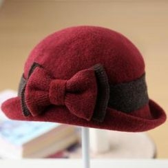 RGLT Scarves - Bow-Accent Wool Blend Bowler Hat