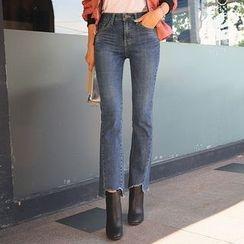 DABAGIRL - Cutout-Hem Semi Boot-Cut Jeans