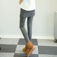 Ohayo - Maternity Inset Skirt Fleece Lined Leggings