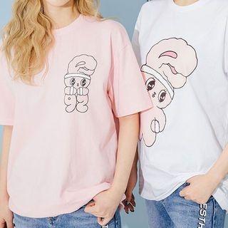 chuu - Bunny Print Cotton T-Shirt