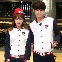Iscat - Couple Matching Panel Baseball Jacket