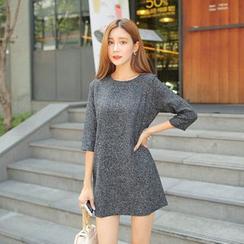Cherryville - 3/4-Sleeve A-Line Tweed Mini Dress