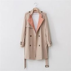 PEPER - Double-Breasted Contrast-Trim Trench Coat With Belt