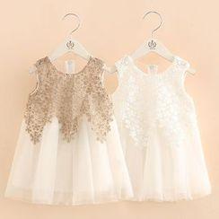 Seashells Kids - Kids Embroidered Panel Sleeveless Tulle Dress