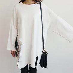 NANING9 - Drop-Shoulder Brushed-Fleece Pullover
