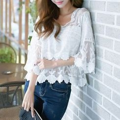 DAZZ - Embroidered V-Neck 3/4-Sleeve Top