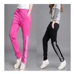 Sienne - Drawstring Pinstriped Sweatpants