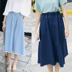 Iscat - Fray Denim Skirt