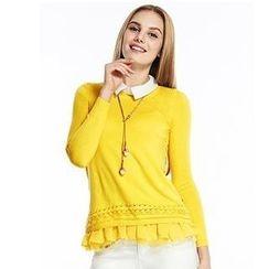 O.SA - Set: Lace-Panel Knit Top + Ruffled Sleeveless Blouse