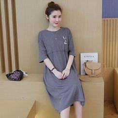 NEUF - Maternity 3/4-Sleeve A-Line Midi Dress