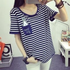 Ukiyo - Bunny Print Stripe Short Sleeve T-shirt