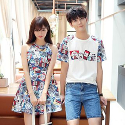 Je T'aime - Couple Matching Printed Short Sleeve Baseball T-Shirt / Sleeveless Dress
