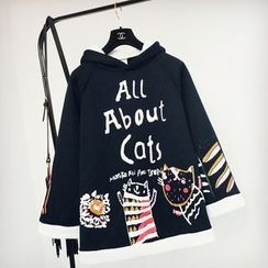 Cotton Candy - Cat Print Cape Hoodie
