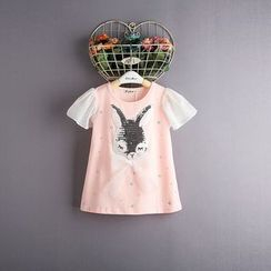 Kidora - Kids Sequined Rabbit Frilled Chiffon Top