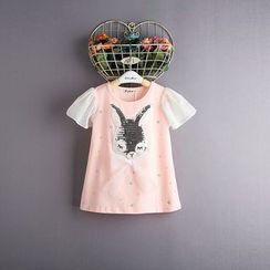 Kidora - 儿童亮片兔子皱褶雪纺上衣