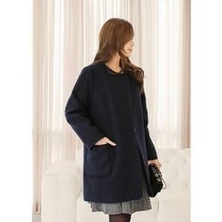 J-ANN - Collarless Snap-Button Coat