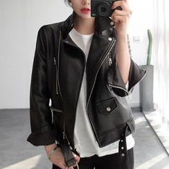 OTTI - Faux Leather Biker Jacket