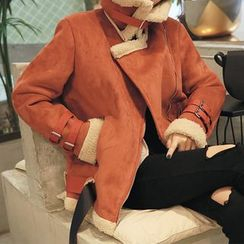 DABAGIRL - Funnel-Neck Belted Faux-Shearling Jacket