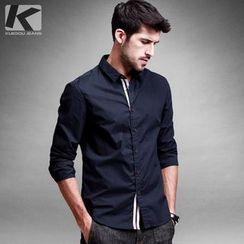 Quincy King - Contrast Placket Long-Sleeve Shirt