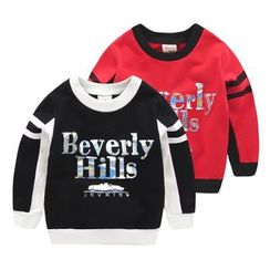 lalalove - Kids Letter Panel Fleece-lined Sweatshirt