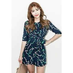 INSTYLEFIT - Elbow-Sleeve Tie-Waist Mini Dress