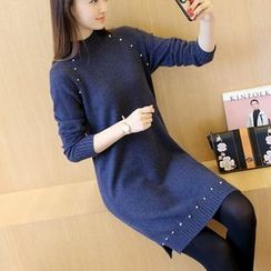 Autunno - Mock-Neck Studded Long Sweater