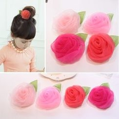 Gold Beam - Kids Mesh Rose Hair Clip