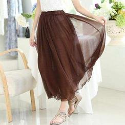 Jolly Club - Elastic-Waist Long Skirt