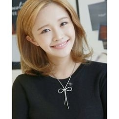 Miss21 Korea - Rhinestone Ribbon-Pendant Necklace