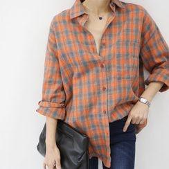 DANI LOVE - Long-Sleeve Plaid Shirt