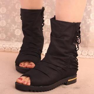IYATO - Peep-Toe Strappy Mesh Short Boots