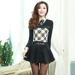 Mooiee - Set: Long-Sleeve Patterned Blouse + Pleated A-Line Skirt