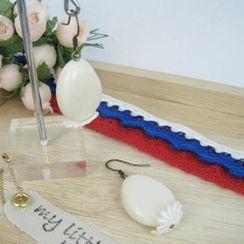 MyLittleThing - Elegant Lace Bead Earrings(ivory)