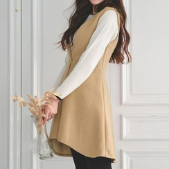 JUSTONE - Deep V-Neck Wool Blend Jumper Dress