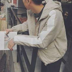 子俊 - 配色邊連帽夾棉外套