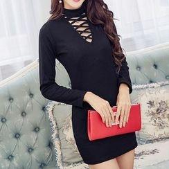 Fashion Street - Cross Front Long-Sleeve Bodycon Dress