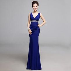 Posh Bride - Sleeveless Deep V-Neck Mermaid Evening Gown