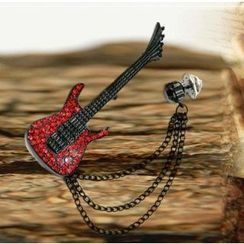 Trend Cool - Rhinestone Guitar Brooch
