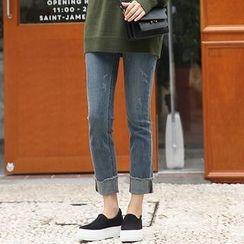 Seoul Fashion - Fray-Hem Washed Straight-Cut Jeans