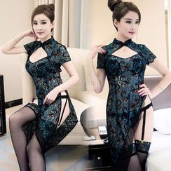 Colorful Days - Set: Lace Cheongsam Nightdress + Garter + Stockings