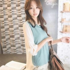 Tokyo Fashion - Long-Sleeve Chiffon-Panel Textured Blouse