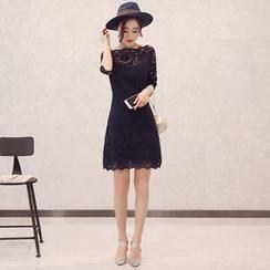 GARAT - 蕾絲中袖連衣裙