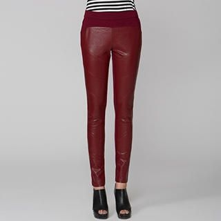 O.SA - Faux Leather Panel Skinny Pants