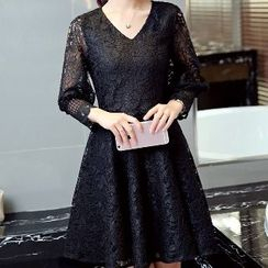 Romantica - Long-Sleeve Lace A-Line Dress