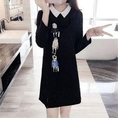 巧妮兒 - 卡通印花飾領長袖連衣裙