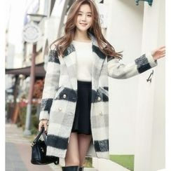 Romantica - Double-Breasted Check Wool Coat