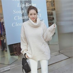 TOM & RABBIT - Turtle-Neck Pointelle-Knit Sweater