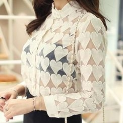WHITE FOX - Heart Pattern Sheer Blouse